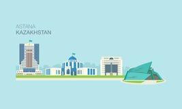 Costruzioni 5 della città di Astana illustrazione di stock