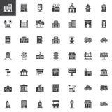 Costruzioni della città ed icone di vettore del trasporto messe Immagine Stock