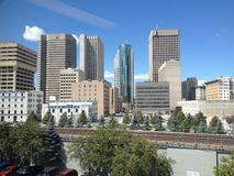 Costruzioni della città in Winnipeg Immagini Stock