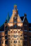 Costruzioni dello speicherstadt di Amburgo vecchie Immagine Stock