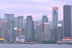 Costruzioni di affari del porto di Hong Kong Port Victoria, un anno di 2013 Immagine Stock