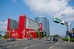Costruzioni di affari a Zagabria, Croazia Fotografie Stock Libere da Diritti