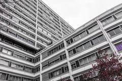 Costruzioni di appartamenti moderne ed alte fatte di calcestruzzo Immagine Stock