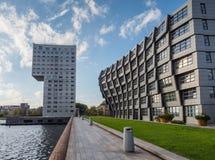Costruzioni di appartamento nel centro urbano moderno di Almere, il Ne Fotografia Stock