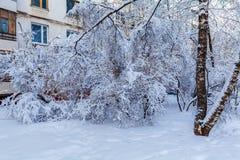 Costruzioni di appartamento nella città nell'inverno Fotografia Stock Libera da Diritti