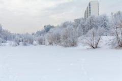 Costruzioni di appartamento nella città nell'inverno Immagini Stock Libere da Diritti