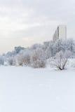 Costruzioni di appartamento nella città nell'inverno Fotografie Stock Libere da Diritti