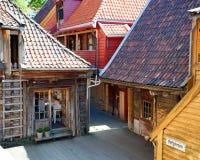 Costruzioni di legno di Bergen, Norvegia Fotografia Stock