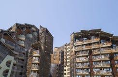 Costruzioni di legno sconosciute in Avoriaz, Francia Fotografia Stock Libera da Diritti