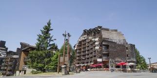 Costruzioni di legno sconosciute in Avoriaz, Francia Fotografia Stock