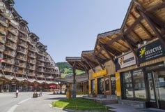 Costruzioni di legno sconosciute in Avoriaz, Francia Immagine Stock