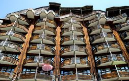 Costruzioni di legno sconosciute in Avoriaz, Francia Fotografie Stock