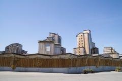 Costruzioni di legno sconosciute in Avoriaz, Francia Fotografie Stock Libere da Diritti