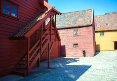 Costruzioni di legno variopinte, Bergen, Norvegia Fotografia Stock