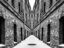 Costruzioni di mattone in bianco e nero Fotografia Stock Libera da Diritti