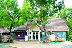 Costruzioni di mostra dello zoo dei bambini Immagini Stock Libere da Diritti