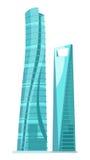 Costruzioni di vetro del grattacielo due isolate su bianco illustrazione vettoriale