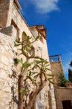 Costruzioni e cactus nel villaggio di Eze. Fotografia Stock