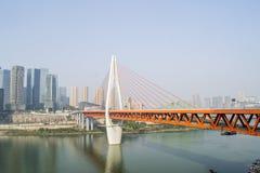 Costruzioni e ponte d'acciaio Fotografia Stock Libera da Diritti