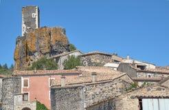 Costruzioni e torre della città medievale Fotografia Stock