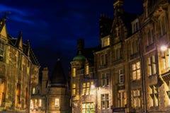 Costruzioni a Edimburgo alla notte Immagini Stock Libere da Diritti