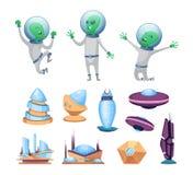 Costruzioni futuristiche dello spazio e navi del UFO Vari caratteri degli stranieri illustrazione di stock