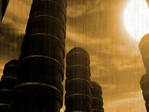 Costruzioni futuristiche di fantasia e sole luminoso Immagine Stock