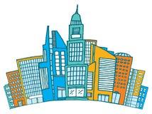 Costruzioni insieme dentro del centro o distretto finanziario illustrazione di stock