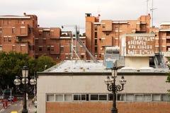 Costruzioni, lampada di via, Bologna Italia di architettura Fotografia Stock Libera da Diritti
