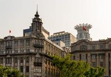 Costruzioni moderne Bund Shanghai Cina delle vecchie costruzioni Fotografie Stock Libere da Diritti