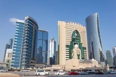 Costruzioni moderne in Doha del centro, Qatar Fotografie Stock