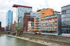 Costruzioni moderne a Dusseldorf, Germania Fotografia Stock Libera da Diritti