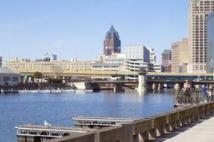 Costruzioni moderne nella città di Milwaukee, un distretto aziendale Fotografie Stock