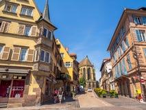 Costruzioni nel cuore di Colmar medievale fotografia stock