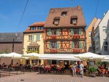 Costruzioni nel cuore di Colmar medievale fotografia stock libera da diritti