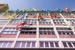 Costruzioni nel porto Dusseldorf di media fotografia stock