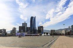 Costruzioni nel quadrato di Chinggis, Ulan Bator fotografia stock libera da diritti