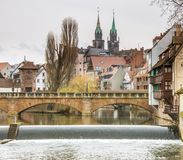 Costruzioni nella città tedesca di Norimberga Fotografia Stock Libera da Diritti