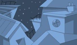Costruzioni nella notte stellata Immagine Stock Libera da Diritti