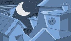 Costruzioni nella notte stellata Immagine Stock