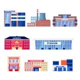 Costruzioni non residenziali della città, insieme delle icone di vettore Oggetti municipali del bene immobile isolati su fondo bi illustrazione vettoriale