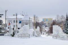 Costruzioni per i bambini da neve e da ghiaccio Fotografia Stock Libera da Diritti