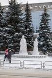 Costruzioni per i bambini da neve e da ghiaccio Fotografia Stock
