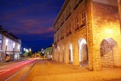 Costruzioni Rathaus Harz Germania dei archs di Nordhausen Immagini Stock