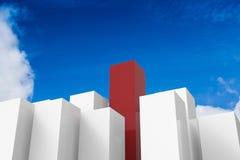 Costruzioni rosse e bianche di concetto di direzione Fotografia Stock Libera da Diritti