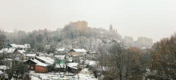 costruzioni sovietiche socialiste alla città di inverno Fotografia Stock