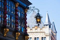 Costruzioni storiche a Aquisgrana, Germania Fotografia Stock