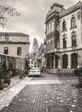 Costruzioni storiche del mercato di Baku Azerbaijan Old House Street fotografia stock libera da diritti