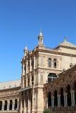 Costruzioni sul quadrato spagnolo di Famous Plaza de Espana (era la sede per la mostra dell'America latina di 1929) - in Siviglia Immagini Stock Libere da Diritti