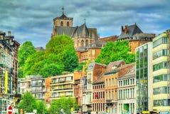 Costruzioni tipiche nel centro urbano di Liegi, Belgio fotografie stock